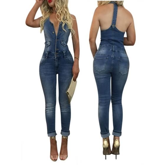 3991ddcb0966 Fashion Denim Long Jumpsuit Women Rompers Sleeveless Button Bodysuit Jeans  Overalls S-XL