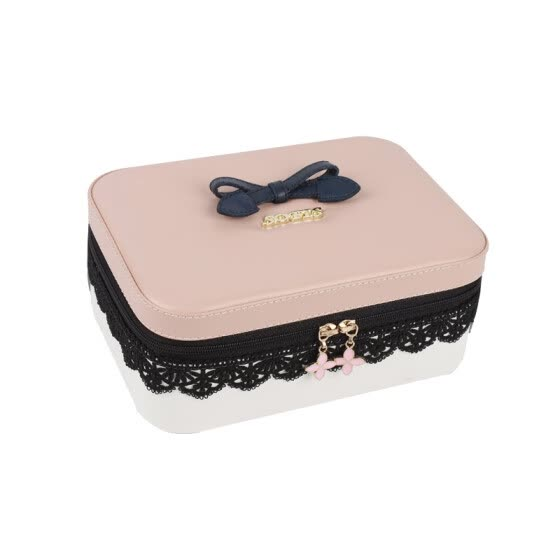 SOFIS cosmetic case cosmetic storage box lipstick box eye shadow box jewelry box cosmetic bag simple portable birthday gift pink