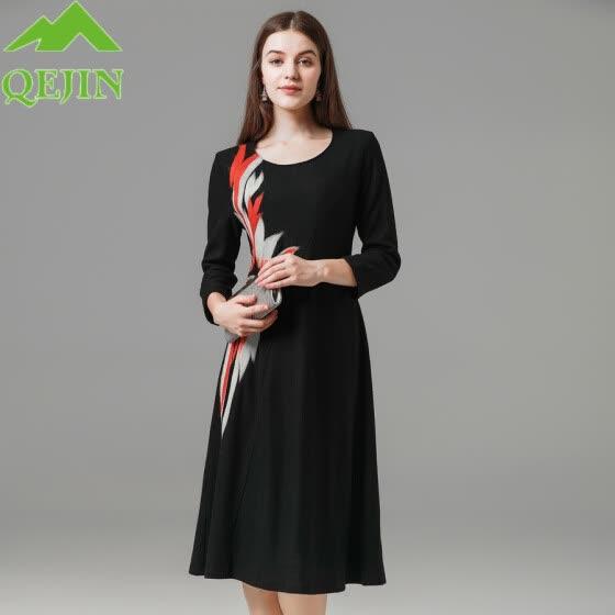 Vestidos de invierno de las mujeres vestidos de mujer de lana Bordado  Vestido negro O- 855d069754ff