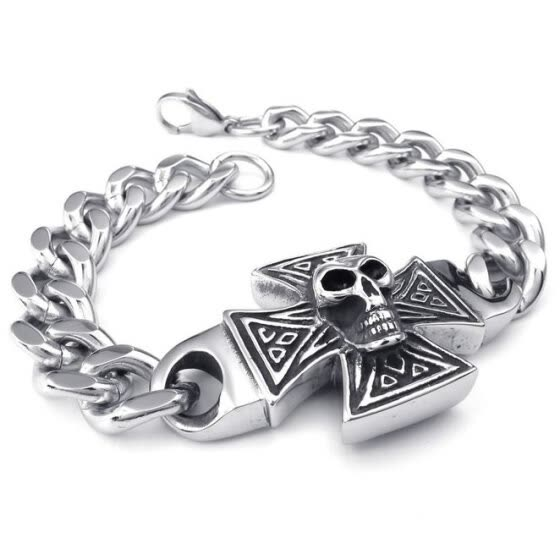 Hpolw Mens silver Stainless Steel Lobster Clasps Bracelet and Gothic Skull/skeleton Cross Charm Biker Link hip hop Bracelets
