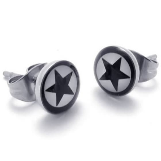 Hpolw Two Tone Beautiful Unisex Mens Star Stud Stainless Steel Earrings, 2pcs, White Black