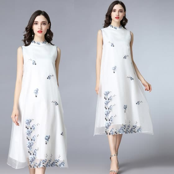 2018 summer Women vest dresses nature silk oraganza Embroidery O-neck white color High-end long style elegant preppy plus size