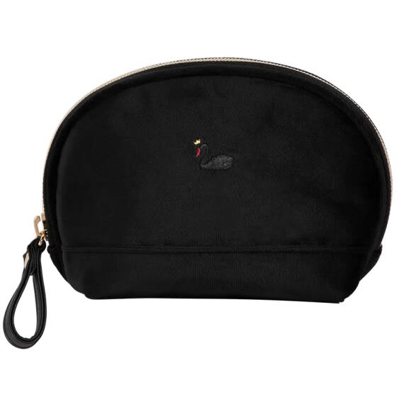 Kinbor velvet shell pencil bag / creative stationery bag / girl hand holding storage bag black swan DTB6251