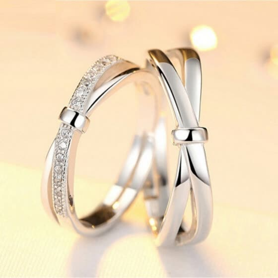 2PCS Silver Diamond Rings Couple Rings Size Adjustable