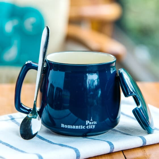 【Jingdong Supermarket】 Porcelain Soul Creative Breakfast Ceramic Mug Couple Coffee Mug Milk Cake With Tape Spoon Office Cupglass Cup Green Meili