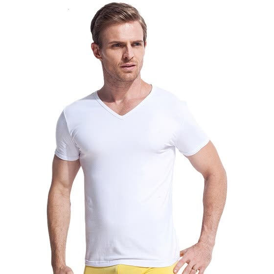 [Jingdong Supermarket] seven wolves men's pure color cotton short-sleeved T-shirt V-neck bottom shirt summer sports 98714 white XXL