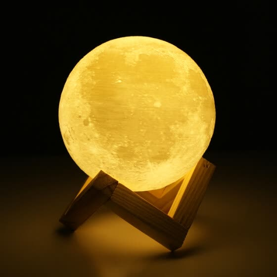JULELYS USB Touch Rechargeable 3D Printing LED Moon Lamp Home Bedroom Bedside Lamp Creative Night Light For Birthday Decorations