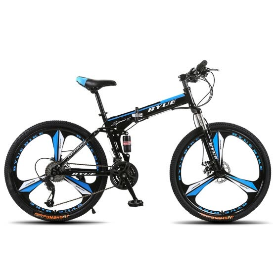 BYUEBIKE 26 inch double disc brake folding variable speed mountain bike cross country shock-absorbing bicycle for men and women