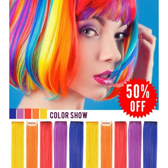 4b91c72ec11bb Rhyme 10PCS Wig Pieces For America Girls and Dolls Clip In On Colored Hair  Extensions