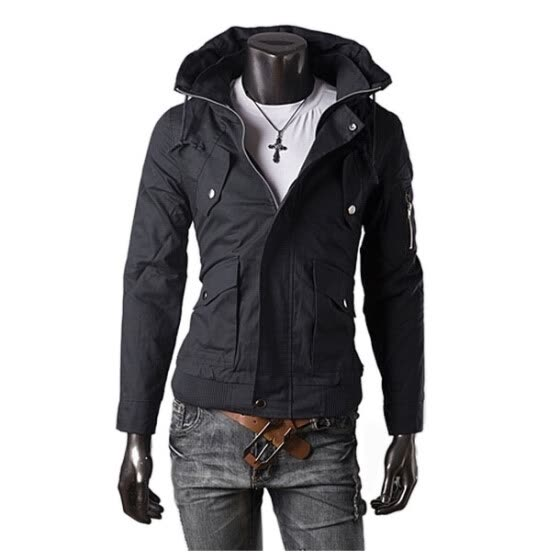 Zogaa Men's Jacket Double Collar Casual Pure Color Slim