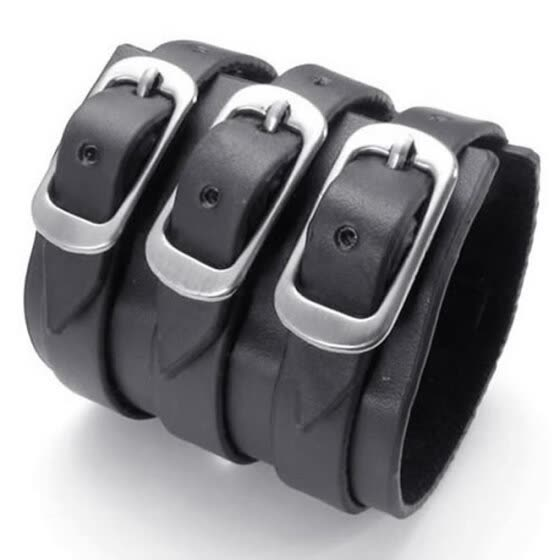 Hpolw Black Genuine Leather/Alloy Mens Bangle Brand Fashion Punk Wide Cuff men Bracelet