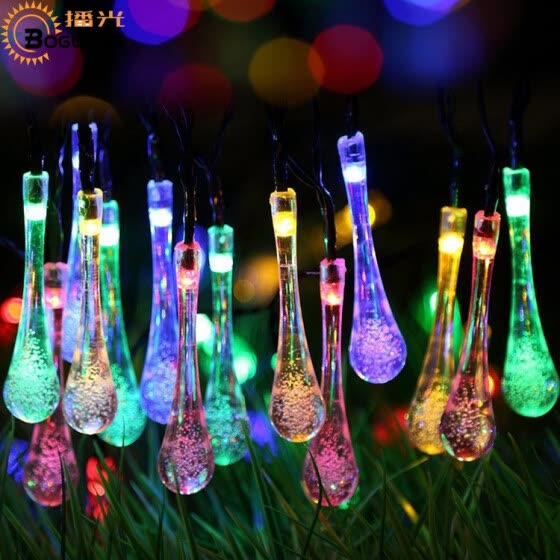 BOGUANG LED Glass drop bubbles string light Waterproof Solar panel Christmas tree decoration Solar Fairy for Outdoor Garden room