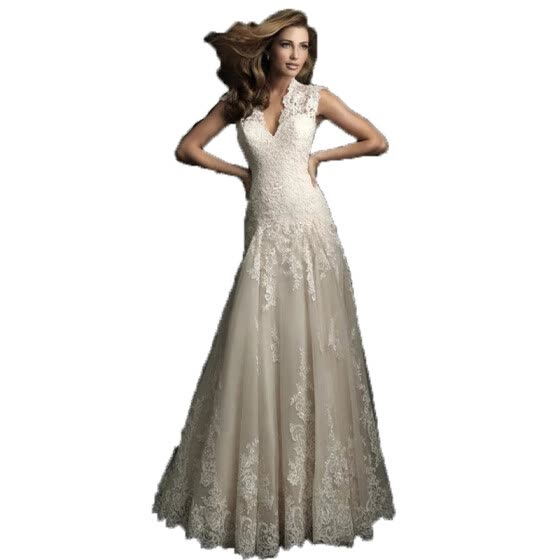 Shop V Neck Embroidery Lace Vintage Fishtail Wedding Gown