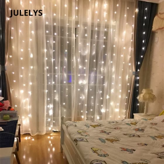 JULELYS 3M x 3M 300 Bulbs LED Curtain String Light Christmas Garland Window Outdoor LED Lights Decoration For Wedding Holiday