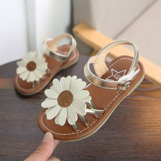 ae8757d15f34b7 Summer Children Shoes Girls Sandals 2018 New Fashion Sun Flower Baby  Non-slip Beach Shoes