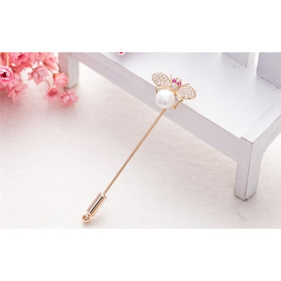 Shop Cute Women Bee Brooch Pin Gold Color Rhinestone Pearl