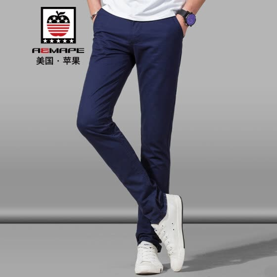 AEMAPE/American Apple Casual Pants Men's Slim Straight Free Iron Men's Feet Pants Fashion Business Casual Pants 8528XXK Dark Blue 34