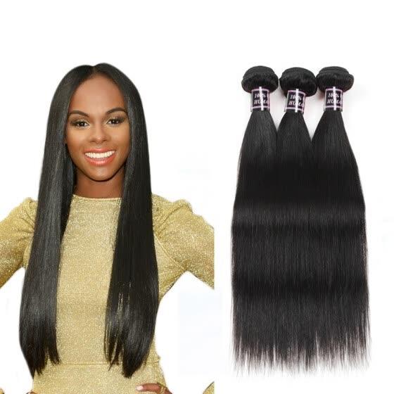 Ishow Hair 7A Unprocessed Peruvian Virgin Hair Straight 3 Bundle Deals Cheap Human Hair Weaves Natural Color