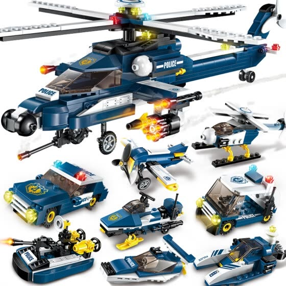 Enlightenment (ENLIGHTEN) Children's Building Blocks Toys Inserting Toys Boys Puzzle Gifts Storm Armed Helicopter 1801