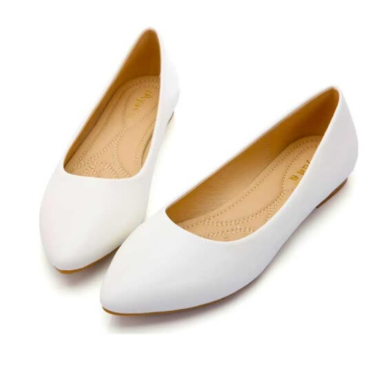 87d349f7779c4 Shop Pointed Toe Flats Shoes Spring Office Work Solid Slip On Shoes ...