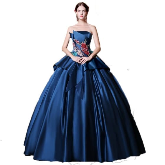 Shop Blue Satin Embroidery Sleeveless Strapless Ball Gown Wedding