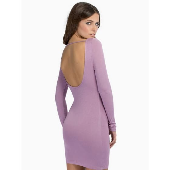 5Colors Backless Bodycon Long Sleeve Sexy Dress