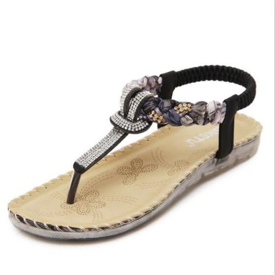 1546d6b1b3a6dd 2018 New Women Sandals Ethnic Style Sandals Bohemia Rhinestone Large Size Flat  Shoes Women Shoes