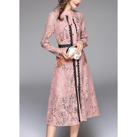 2018 Women Elegant Lace Dress Tie Neck Long Sleeve Vintage Party Dress