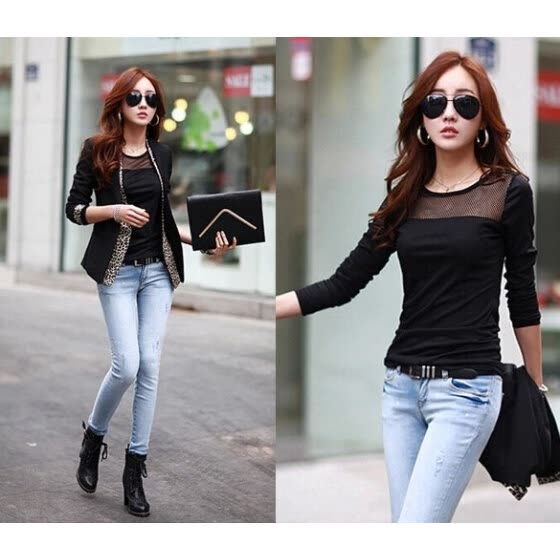 Stylish Lady Women's New Fashion Sexy Long Sleeve Net Stitching Bottoming T-Shirt