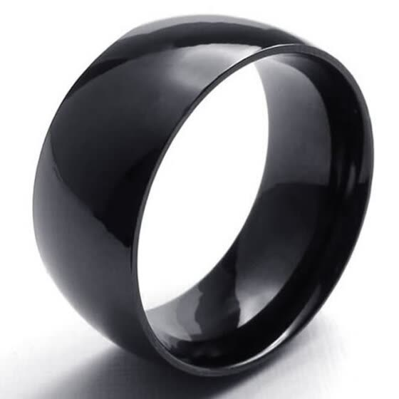 Hpolw Mens Pure black enamel design high polished rings for men 316L Stainless Steel Ring, 10mm, Comfort Fit Band, Black