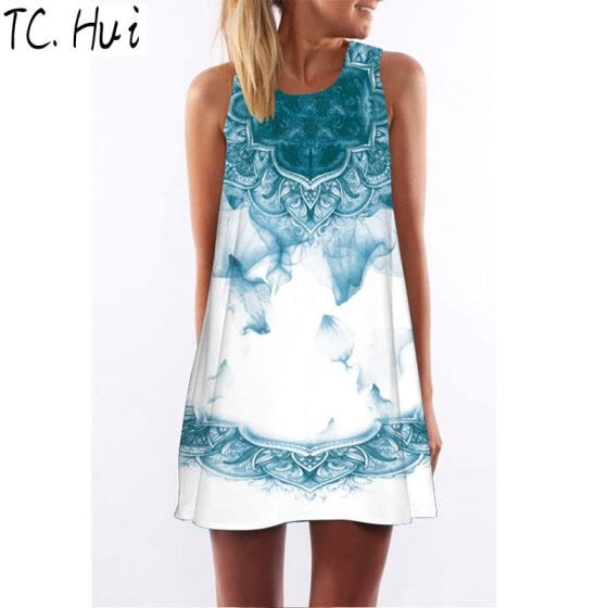 New 2018 Summer Style Women Sleeveless Vintage Dresses 3D Floral Print Casual Loose Sexy Chiffon Dashiki Boho Dress