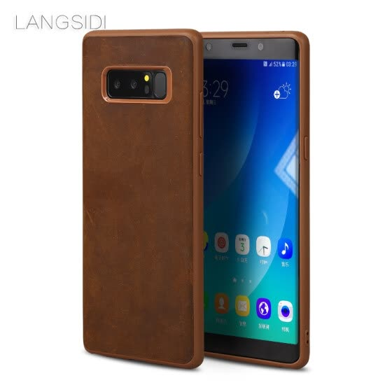 LANGSIDI Genuine Leather Phone Case For Samsung Galaxy Note 8 Case Vintage Crazy horse skin All-inculsive Cover