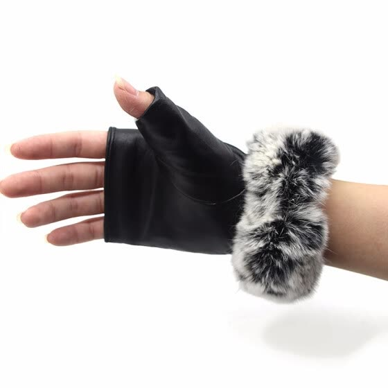 Autumn and winter women's sheepskin gloves finger exposed wrist fox fur warm real fur gloves 2018 new hot outdoor sports riding