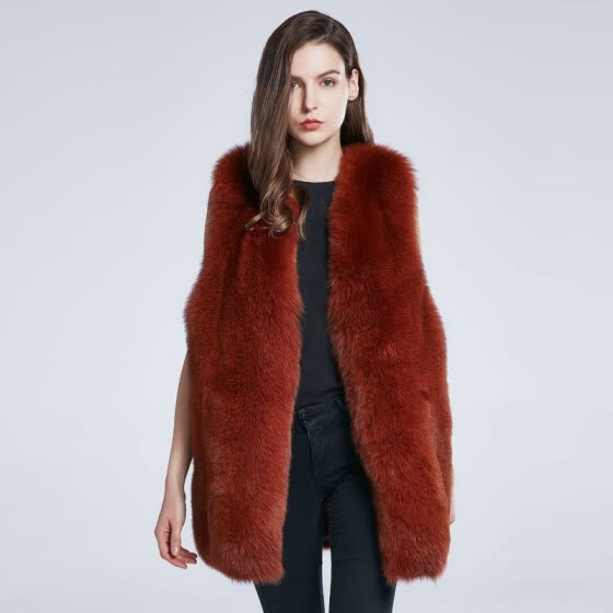 Women's Winter Coat True Fox Fur Jacket Furry Fur Vest Natural Fur Coat Big Block Stitching 2018 New Warm Fashion Discount