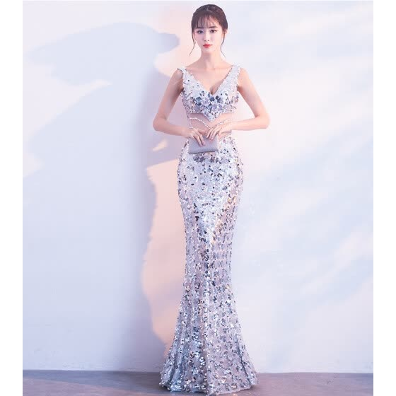 a89af41cbcd Shinning Sequin Long Evening Dress 2018 New Stylish Elegant Party Dresses  Luxury Half Sleeve Appliques Prom