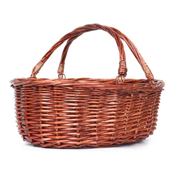 Wicker Picnic Storage Basket Natural Willow Shopping Storage Basket W//Handle with White Lace
