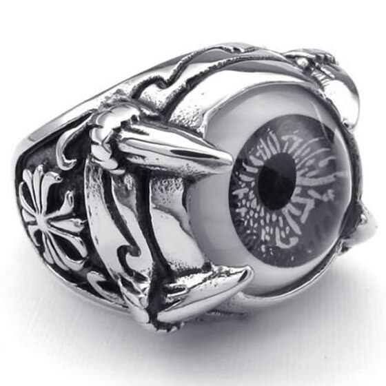Hpolw men's 316L Stainless Steel Gothic Dragon Claw Evil Eye Biker Men's Ring, Black & Silver crystal eyes,Width: 20mm