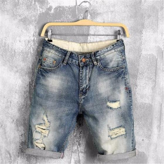summer denim shorts male jeans men jean shorts bermuda skate board harem mens jogger ankle ripped wave 38 40