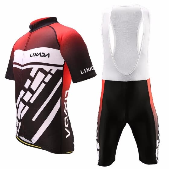 Romacci Lixada Men's Cycling Clothes Set Quick Dry Short Sleeve Bicycle Jersey Shirt Tops 3D Cushion Padded Riding Bib Shorts Tigh