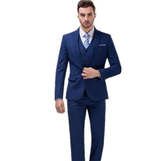 Shop 2018 Groom Tuxedos Best Man Suit Roral Blue Groomsman Men S