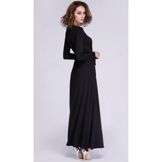 Fashion Lady Women's Casual Party Long Sleeve V-neck Splitting Sexy Long Dress