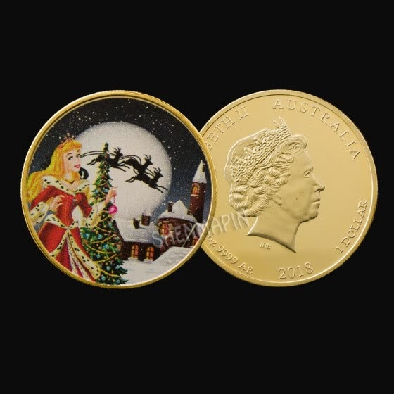 European and American princess coin Christmas coin gold plated cartoon coins collection gifts