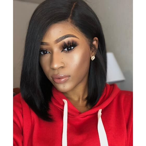 Shop Side Part Bob Straight Lace Wig Pre Plucked Hairline
