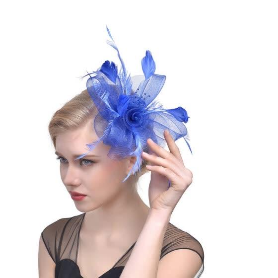 Elegant Women Feather Fascinator Flower Veil Top Hat Headband Wedding Party 8456b9de5d2