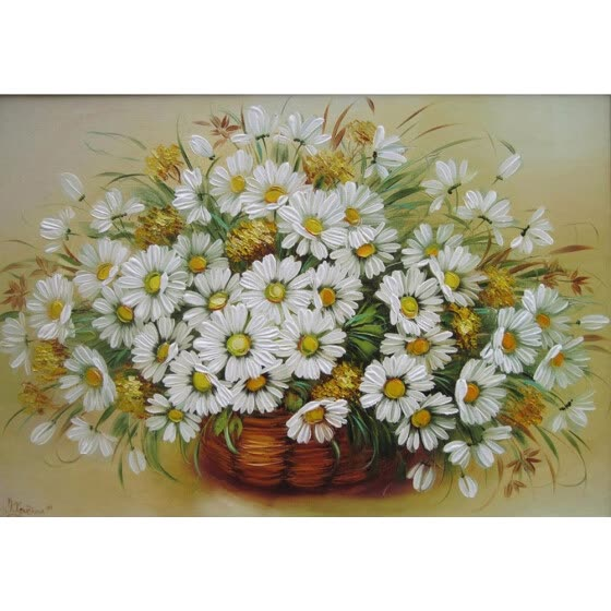 fca7a68bad Diy Flowers Oil Painting Paint by Number Kits without Wooden Framed for  Adults - Beautiful White