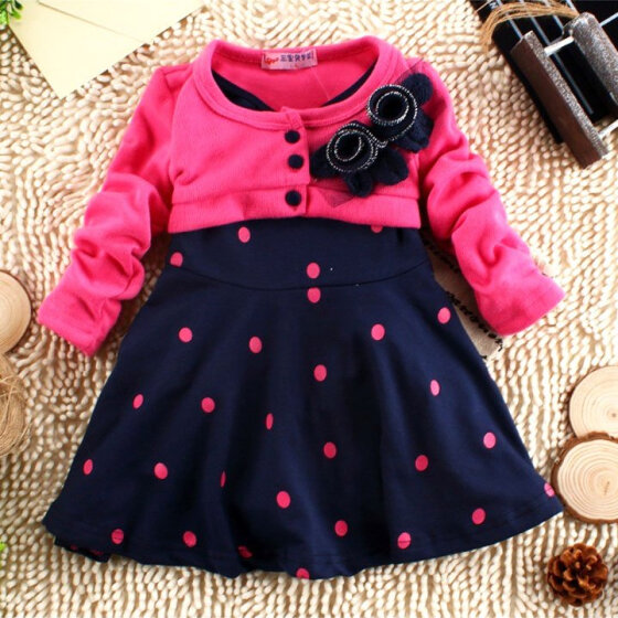 Toddler Baby Outdoor Clothes Set Toddler Baby Girls Candy Color Long Sleeve Striped Princess Casual Dress Fall Outfits