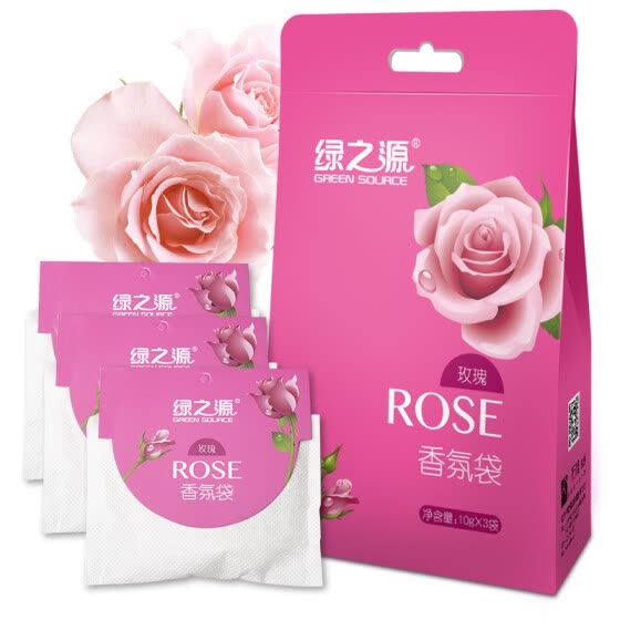 Green Source Rose Fragrance Bag Wardrobe Aromatherapy Fragrance Indoor Essential Oil Sachet Bag Deodorant Sachet (10g*3 bags)