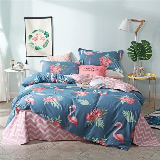 SlowDream Fashion Blue Flamingos Elegant Bedding Set Light Luxury Duvet Cover Active Printing Set Bed Linen Bedclothe Multi Size