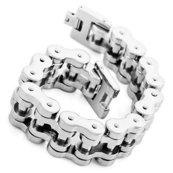 Hpolw New Fashion Men Large Stainless Steel Casting Silver Polished Biker Bracelet Link Wrist ( Weight : 235 g )