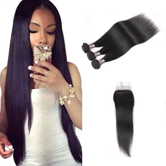 Ishow Cheap 7A Malaysian Straight Hair with Closure Malaysian Virgin Hair 3 Bundles with Closure Free Shipping